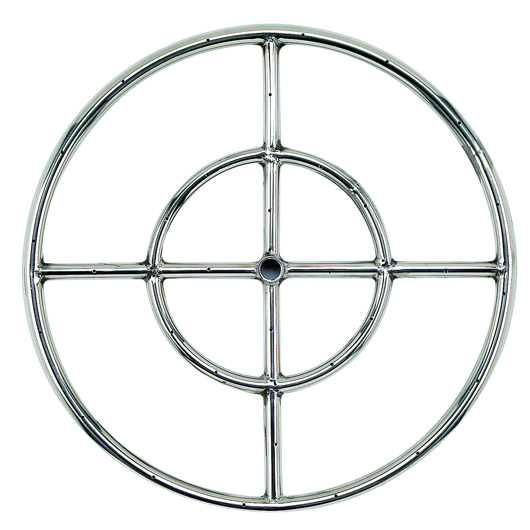 "18"" Stainless Steel Round Fire Pit Burner Ring Double Ring"