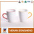 Bulk white coffee mugs with color rim and handle