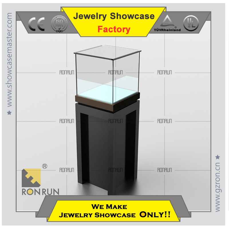 Lux design showcase rotating jewellery display with stainless steel and LED light for jewelry shop
