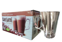 Latte Glasses 240ml Tea Coffee Cappuccino Hot Chocolate Glass Cups Mugs