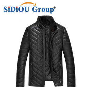 Men Genuine Leather Down Jacket And Coat With Nature Mink Fur Collar Men Oblique Motorcycle Jacket