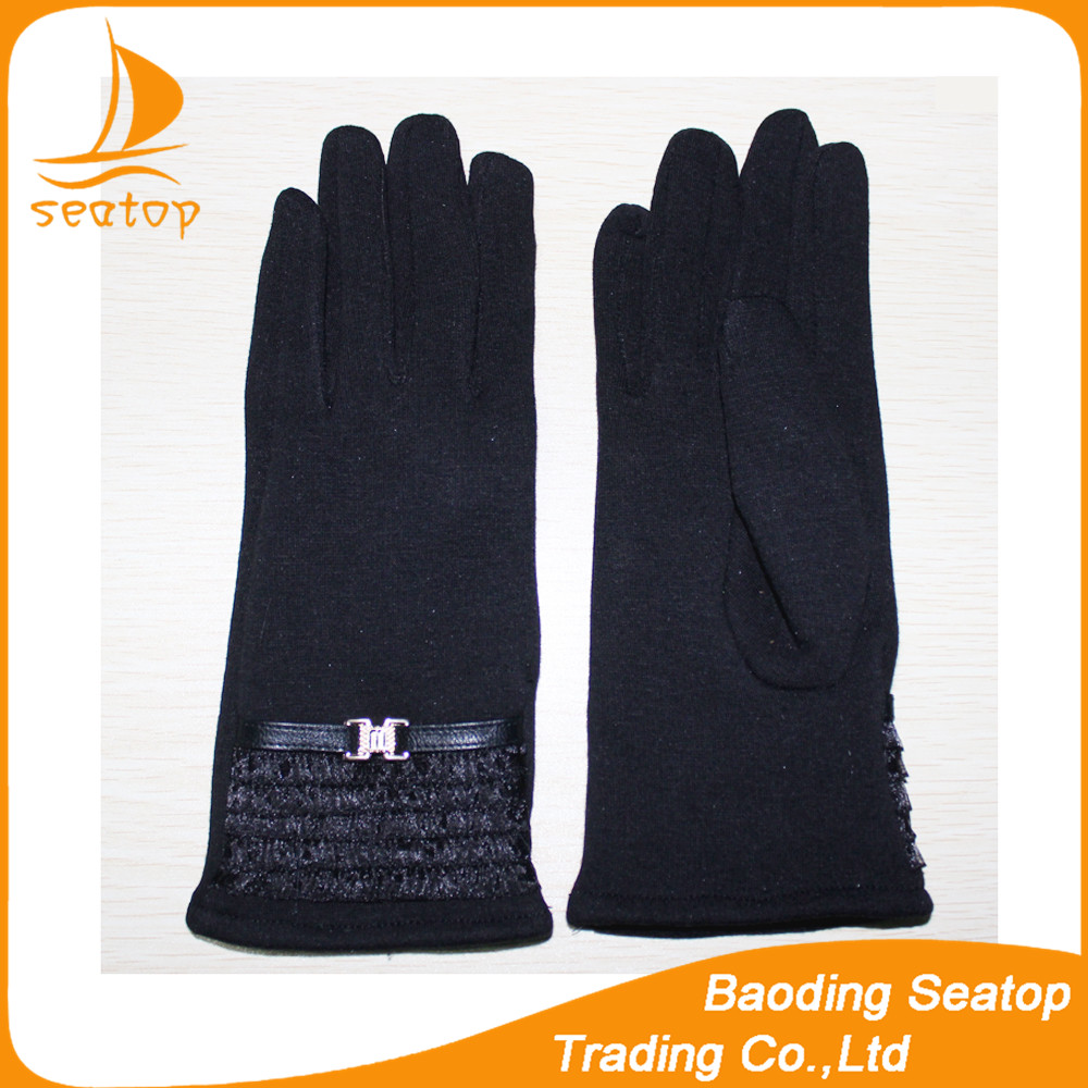 Ladies simple fashion black mirco velvet gloves