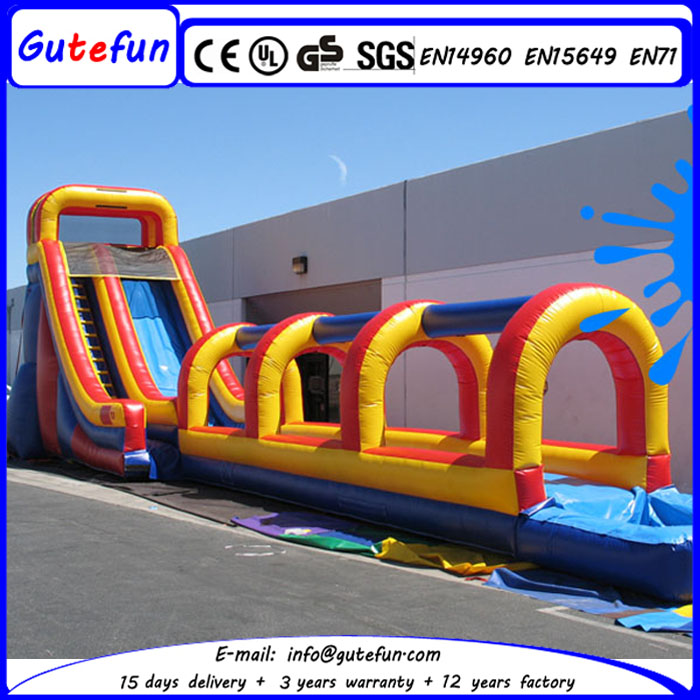 Rental 15m long giant single lane inflatable slip and slide pool for kids