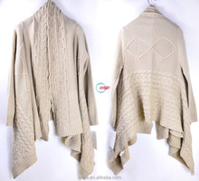 Fashion winter cable heavy knit cardigan sweater for women