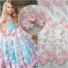 2017 Hot Pink 3D Handmade big florals embroidery french tulle bridal lace for girl's dress HY0490