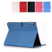 luxury design Croco Leather Flip Case for ipad air 2 leather case with credit card slot and stand.
