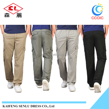 side pockets 100% cotton men cargo pants casual pants /mens cargo pants with side pockets / cargo six pockets pants trousers