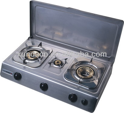 3 burners table cook tops stainless steel gas stove with cover