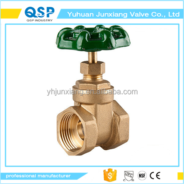 JUNXIANG NPT Female Brass Gate Valve Non-Rising Stem, Inline
