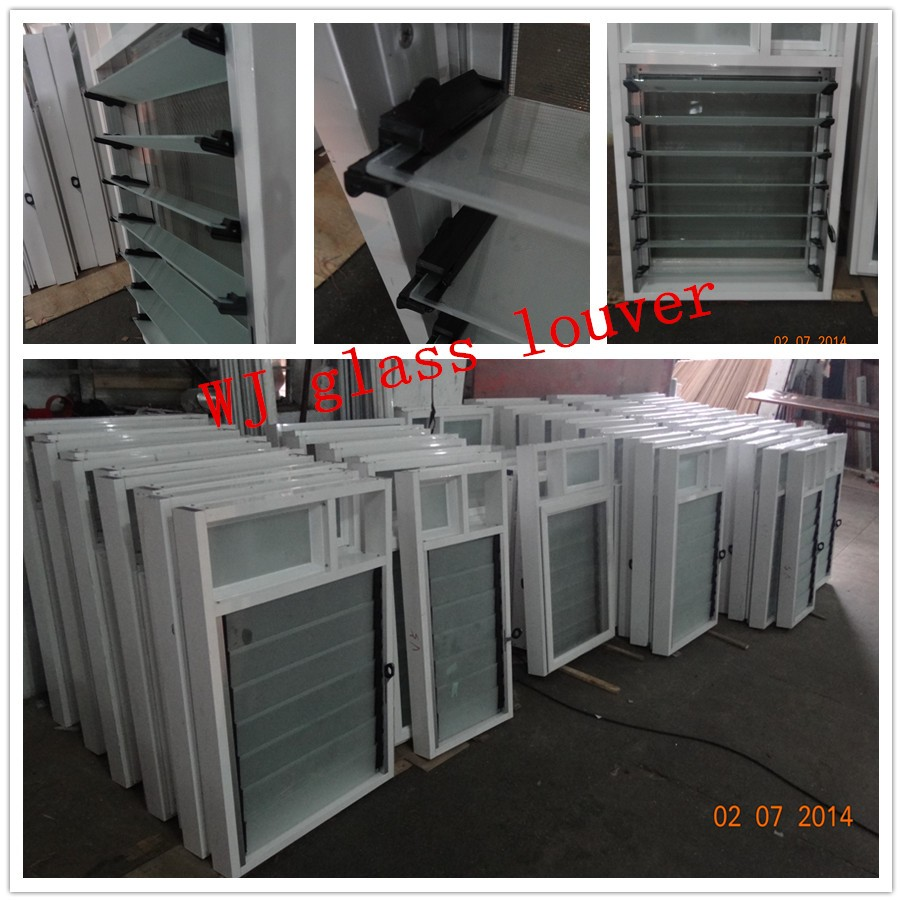 Economy aluminum bathroom windows with glass shutters