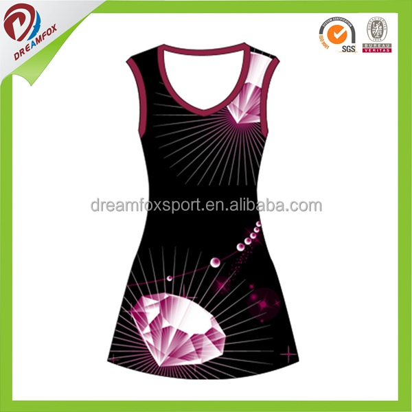 Fanshion girls customized sublimation uniforms netball jersey dress
