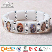 Christian White Plastic Rosary Bracelet with Saint Pictures