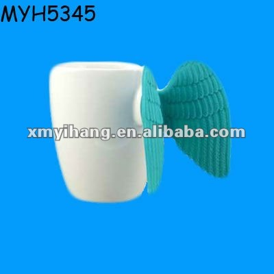 Beautiful ceramic winged handle mug