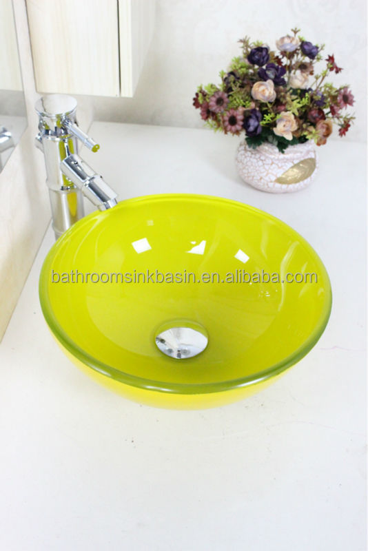 Transparent Tempered glass Vessel Sink With Golden Faucet <strong>N</strong>-<strong>104</strong>