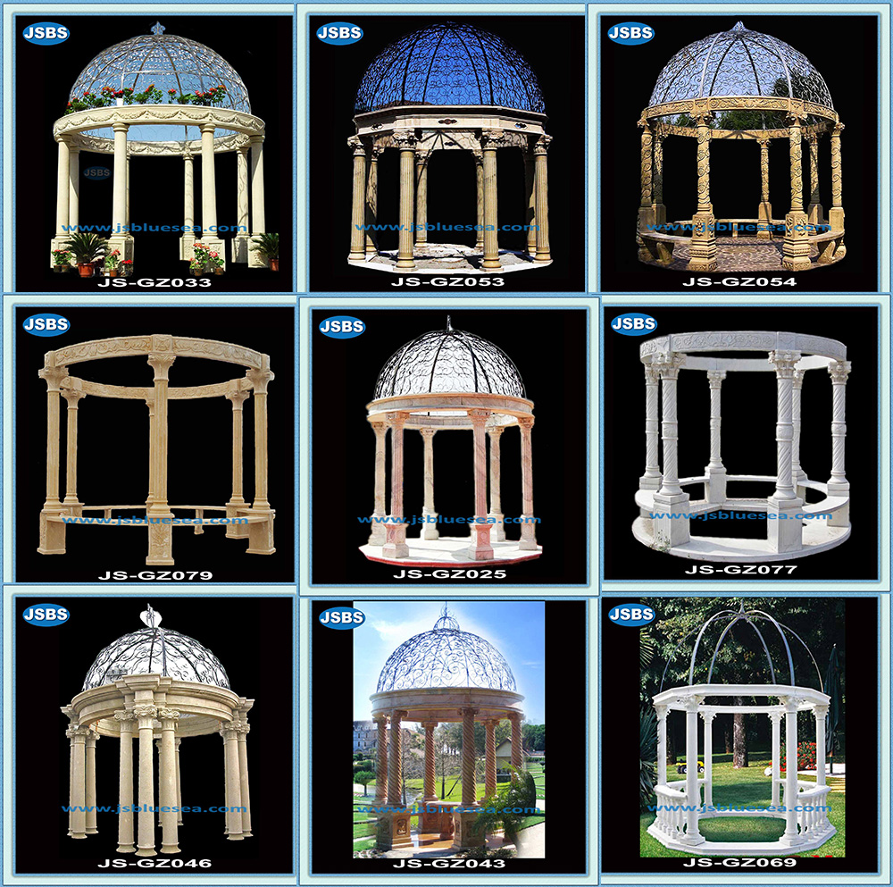 Hand Carved Arched Yellow Marble Garden Gazebo With Column