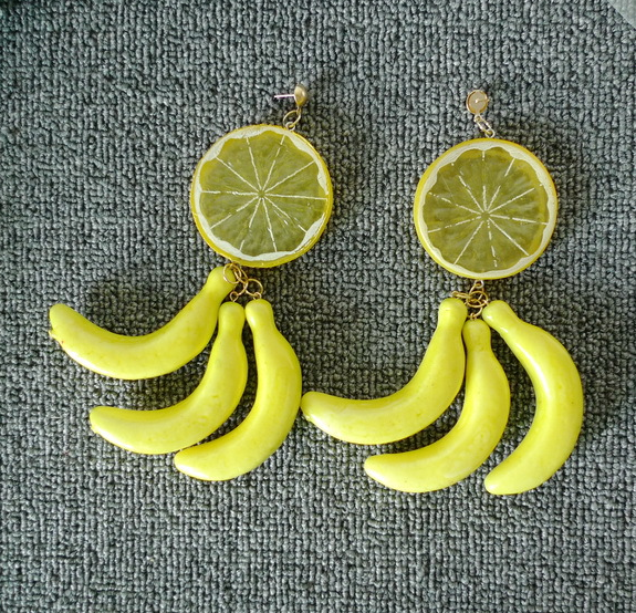 Made in Korea Products My Style Jewelry Wholesale for Bar Pub DJ Cute Banana Orange Fruit Acrylic Earrings