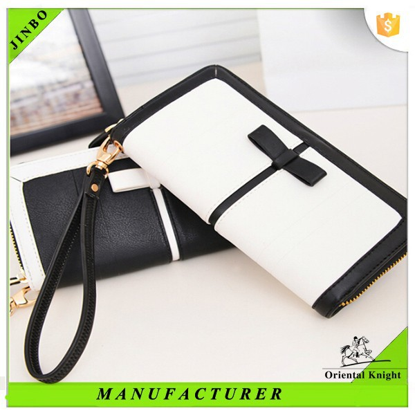 Fine design classical PU leather women wallet with strap 2015
