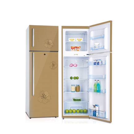 352L Hot Sale Upright Double Glass Door Fridge With Top Freezer Home Refrigrator