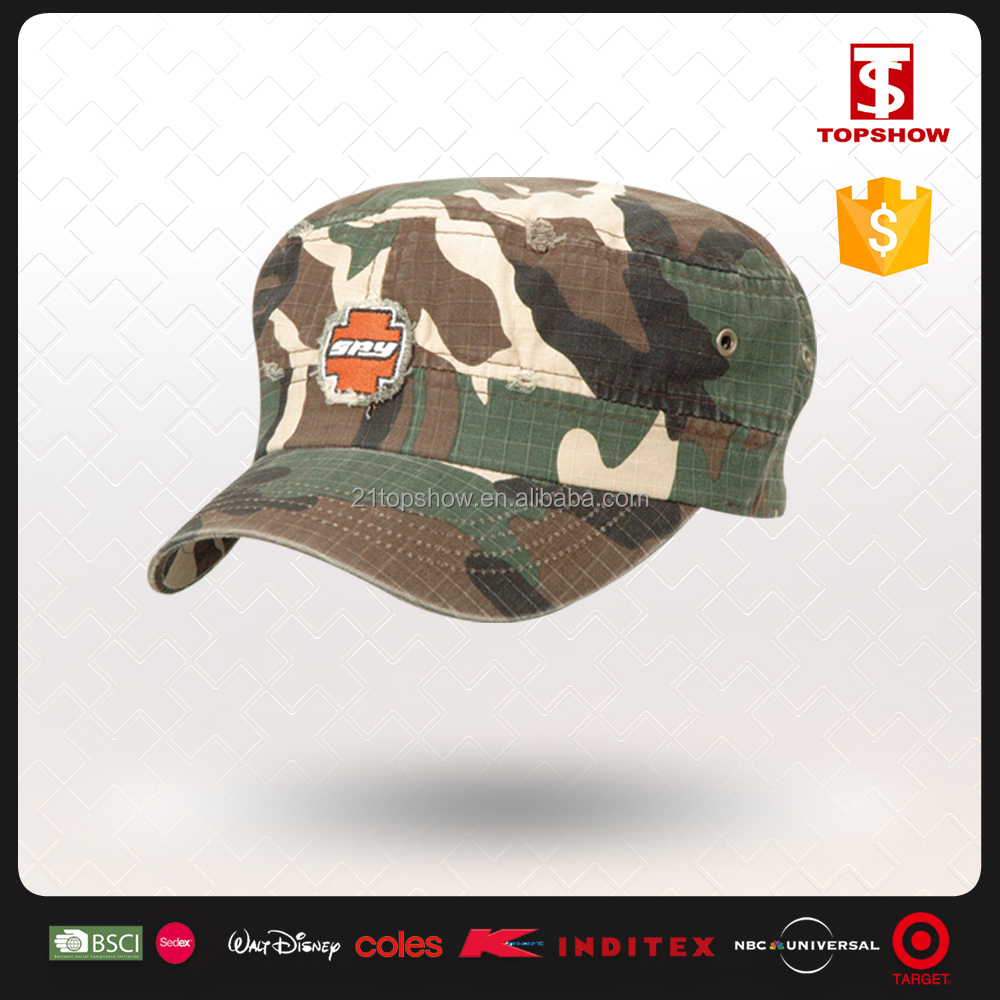 Cheap Embroidery Latest Design Flat Military Hats and Caps