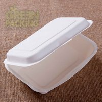 Bagasse white disposable taco shell box