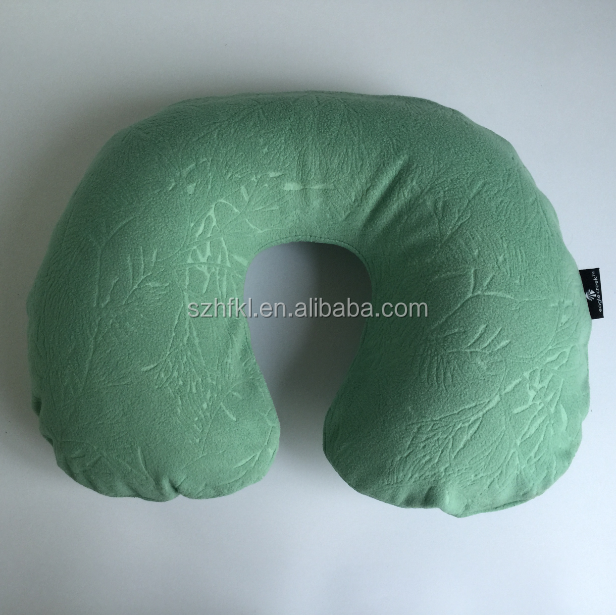 top class inflatable car neck pillow with removable cloth cover for travel