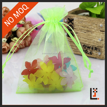 7*9 cm sheer green color organza small gift pouch for travel