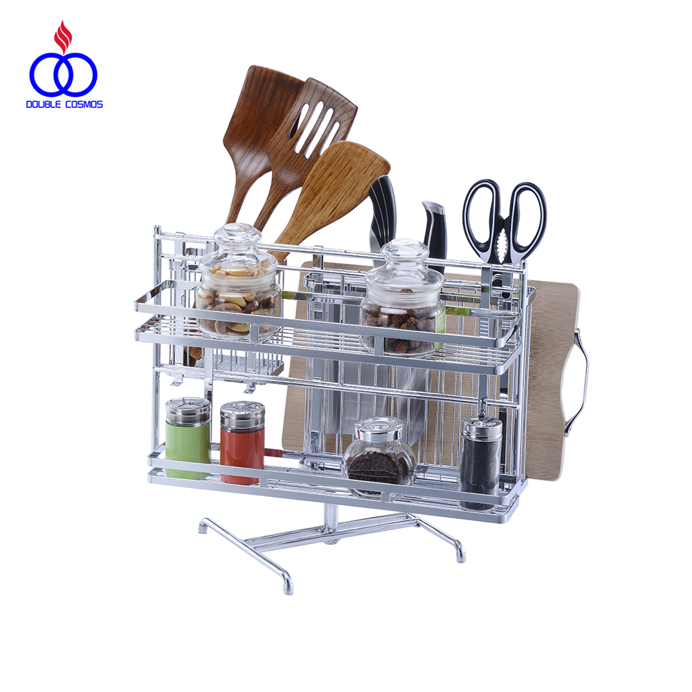 Chrome-plated Detachable Kitchen Knife Spice Utensil Organizer Rack