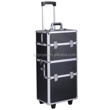 3 In1 Pro Aluminum Rolling Makeup Cosmetic Train Case Wheeled Box
