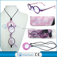 2014 new fashion eyewear frame model reading glasses with case and necklace with marketing packing