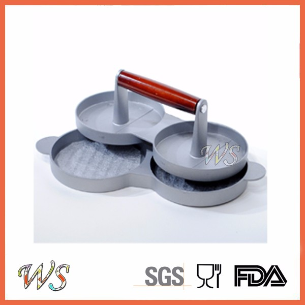WS-DW02 aluminum double silicone burger press with non-stick coating