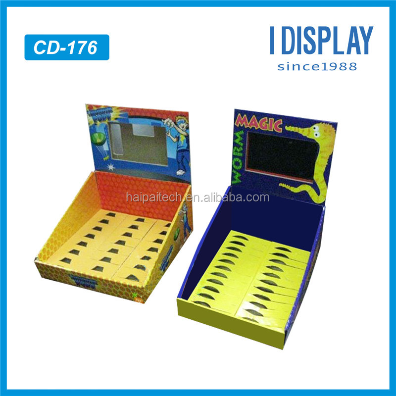 supermarket promotion recyclable perforated pdq cardboard counter top display box with LCD screen