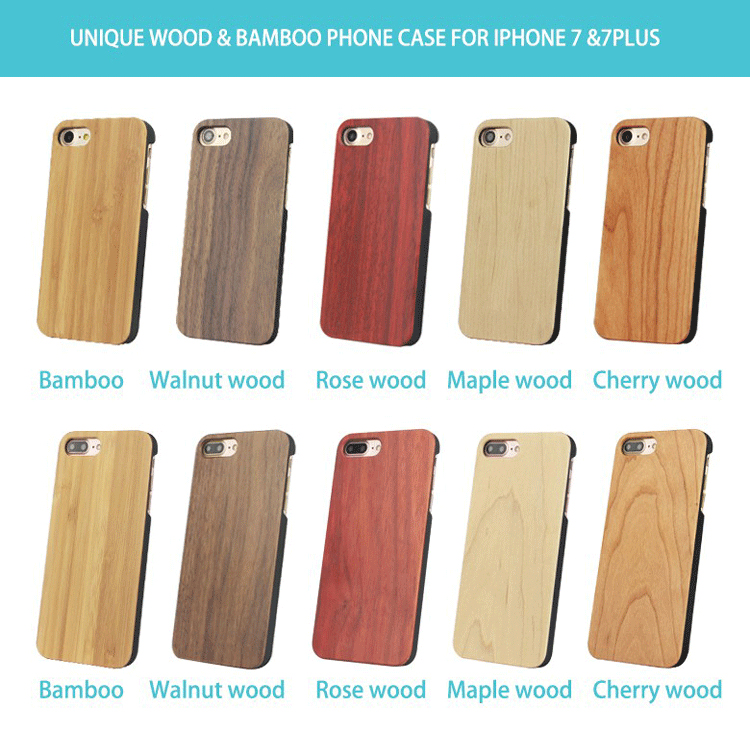 High quality cherry wood cell phone case for iphone 7, wood case for iphone 7 7plus