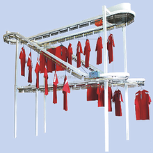 interactive double deck conveying line laundry garment clothes conveyor