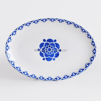 "14"" oval shape plate with decal,porcelain oval plate with custom's design"