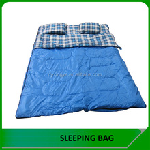 Wholesale camping 3 season Double Sleeping Bag with pillow