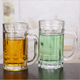China custom logo cold color changing glass Beer sublimation double wall glass cup With Handles
