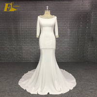 Alibaba Backless Beaded Stretch Mermaid Patterns Sexy Wedding Dress With Sleeve
