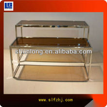 Guangzhou stainless steel & glass clothing display table