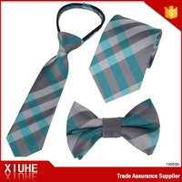 children plaid zip necktie with bow tie