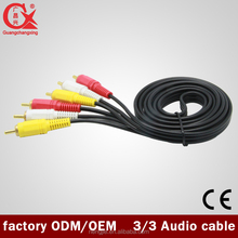 factory sale 3 rca to 3 rca male 1.5m speaker cable