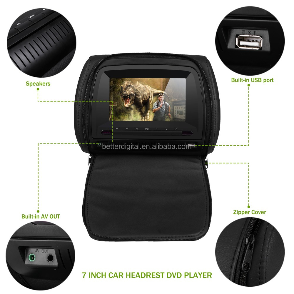 Car headrest dvd 7 inch with USB SD FM IR transmitter wireless games and zipper