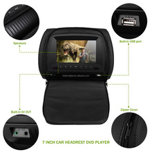 Car headrest dvd 7 inch with USB SD FM and IR transmitter and wireless games and zipper
