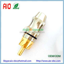 Gold Brass RCA Plug Solder Audio Video Adapter Hourglass Connector