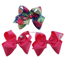 New design princess series JOJO sweet big bow ribbon printing crown with ,horse for fashion girl hair bow accessories
