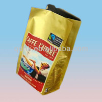 china made side gusset square bottom aluminum foil custom printed coffee package bag