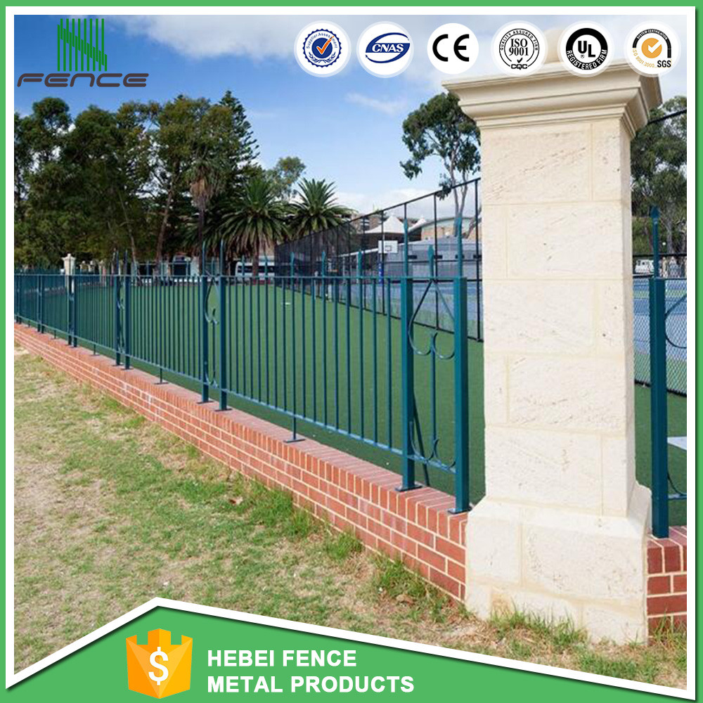 Top-selling igh quality Galvanized Faux Wrought Iron Fence/3 Rail Pressed Point steel Picket Wrought Iron