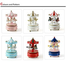 Romantic merry-go-round Music Boxes 1PC Zakka Hand Cranked Wooden Musical Carousel Wedding Birthday Crafts Gifts