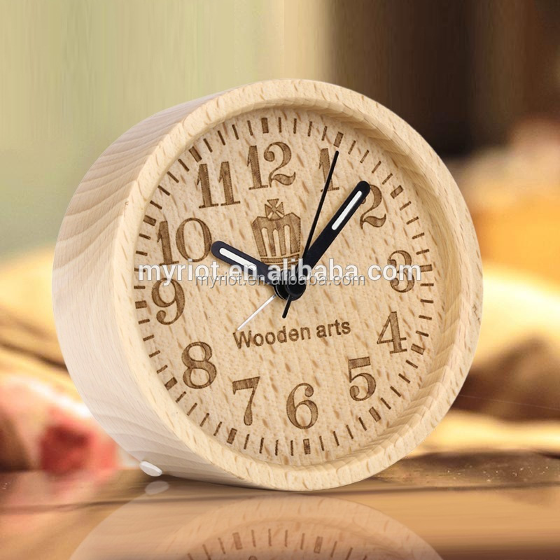 Crown Engraved LOGO Printing Wooden Clock Table Clock