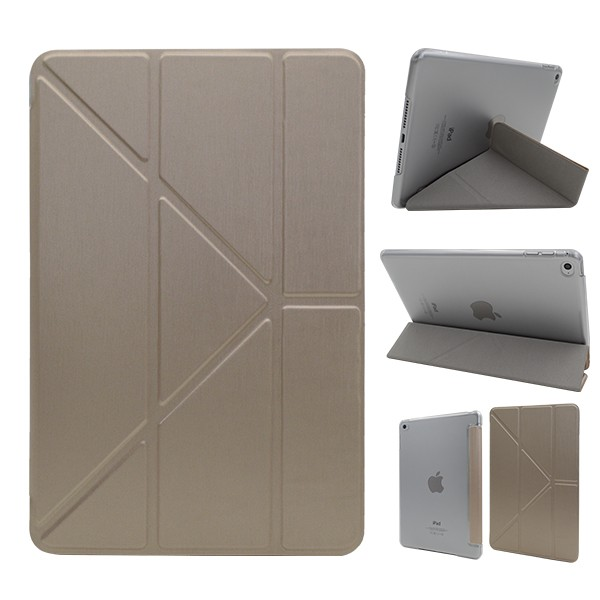 Silk Metal Printing Pu Leather Case for Ipad Mini 4 Multi Stand Folio Cover with Auto Sleep Function