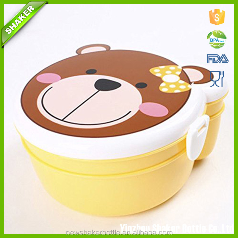 Shaker Random Color Bento Box Decoration Food Storage Child Lunch Box 2 Layer Bento Box Microwave Food Container Eco Friendly